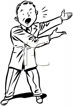 Royalty Free Clipart Image of a Man Announcing Something
