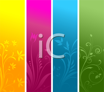 Decorative floral panels in four bright colours