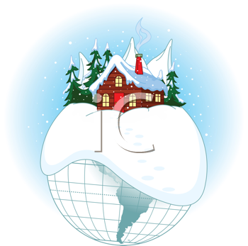Illustration of Christmas planet with Santa's home