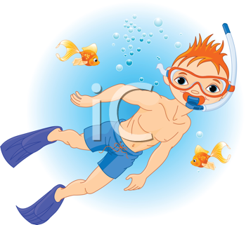 Holiday with Scuba Diving. Boy swimming under water
