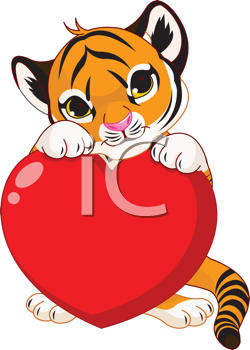 Valentine�s day Illustration of cute tiger cub holding heart