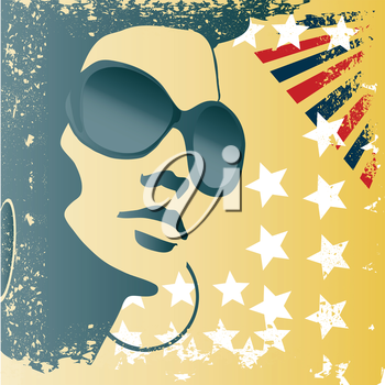 woman with sunglasses and grunge stylized american flag