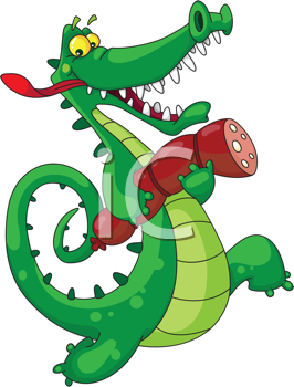 Royalty Free Clipart Image of a Crocodile With Sausage