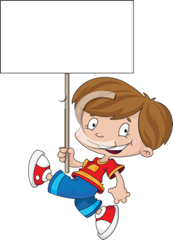 illustration of a funny boy with blank sign