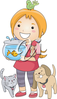 Illustration of a Little Girl Surrounded by Different Types of Pets