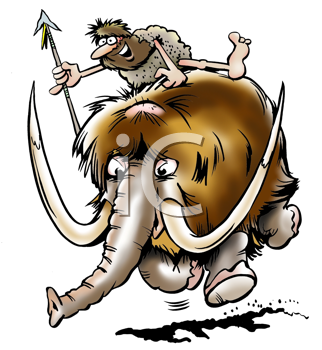 Royalty Free Clipart Image of a Caveman and a Woolly Mammoth