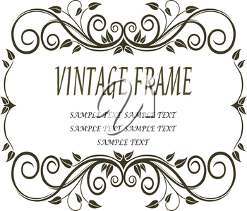 Vintage frame with curlicues and swirls