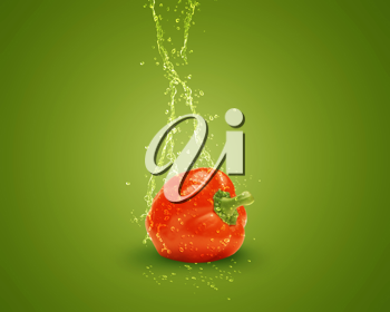 Royalty Free Photo of a Red Bell Pepper on a Green Background With Splashing Water