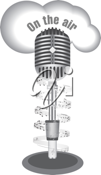 Royalty Free Clipart Image of an Old Microphone With On the Air and Notes