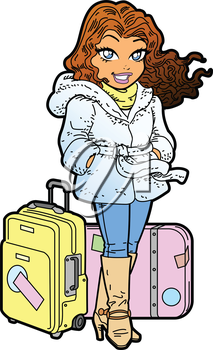 Royalty Free Clipart Image of a Woman With Luggage