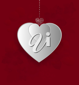 Valentine's Background With Design Heart On A Red Background