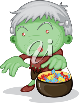 Royalty Free Clipart Image of a Boy Trick-or-Treating