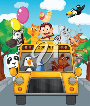 Illustration of school bus filled with animals