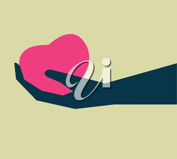 heart on hand icon