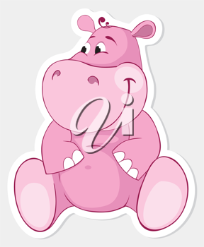 Royalty Free Clipart Image of a Pink Hippopotamus