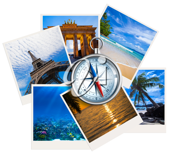 Traveling photos collage with compass on white background