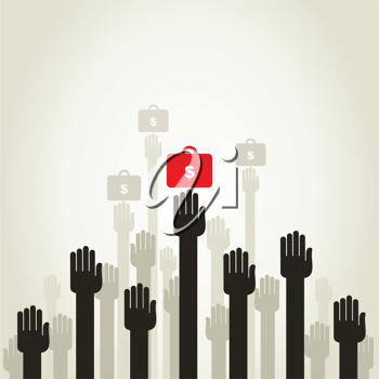 Hands of the person hold business a portfolio. A vector illustration