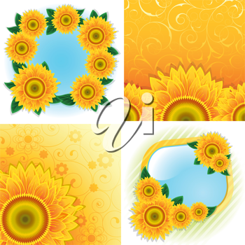 Royalty Free Clipart Image of Four Sunflower Backgrounds and Frames