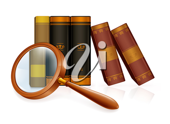 Magnifying glass and books, vector