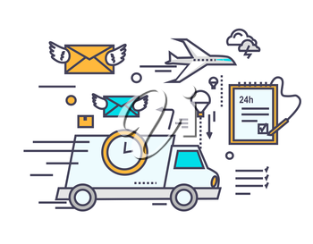 Fast delivery concept icon flat design. Service business transportation, cargo and courier, transport and distribution, logistic mail, receive envelope, send and time. Thin, line, outline icons