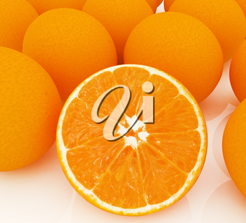 half oranges and oranges on a white background