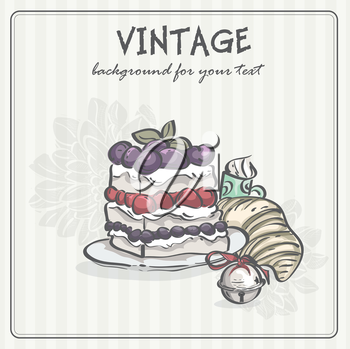Royalty Free Clipart Image of a Vintage Background With Food