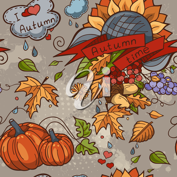 Colored contour seamless texture autumn theme with isolated elements