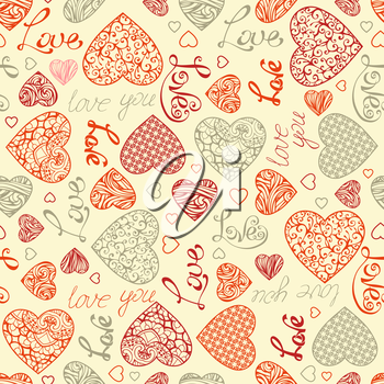 Vintage hearts and text on light background. Vector element for your Valentine's design.