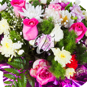 flower bouquet from chrysanths and tea roses close up