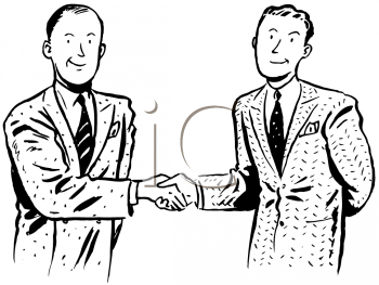 Royalty Free Clipart Image of Two Men Shaking Hands