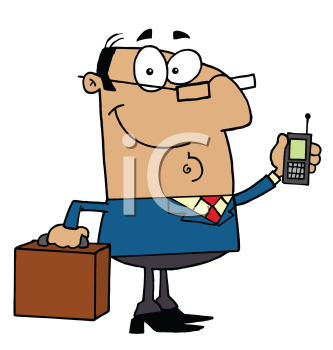 Royalty Free Clipart Image of a Man With a Cellphone