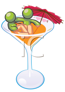 Royalty Free Clipart Image of a Couple in a Martini Glass