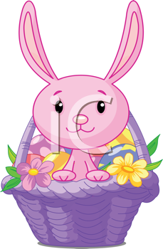 Royalty Free Clipart Image of a Beautiful Easter Basket With Bunny and Eggs