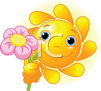 Royalty Free Clipart Image of a Cartoon Sun Holding a Flower