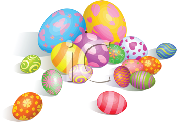 Royalty Free Clipart Image of Painted Easter Eggs