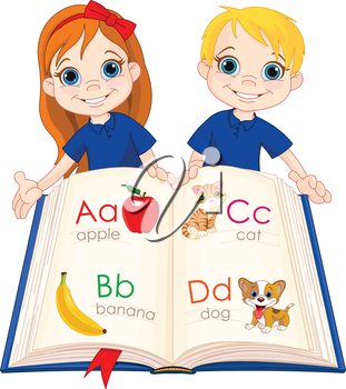 Royalty Free Clipart Image of Two Children With an ABC Book