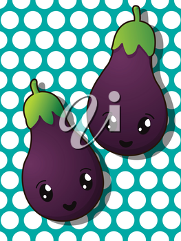Kawaii style drawing eggplant icons