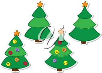 illustration of a Christmas sticker tree set
