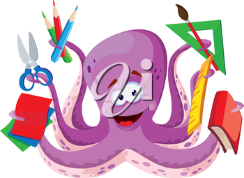 illustration of a octopus with school supplies