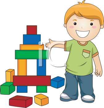 Royalty Free Clipart Image of a Boy With Blocks