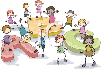 Royalty Free Clipart Image of Children With Giant Alphabet Letters