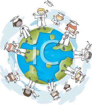 Royalty Free Clipart Image of Graduates Around a Globe
