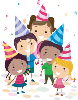 Royalty Free Clipart Image of a Kids Birthday Party
