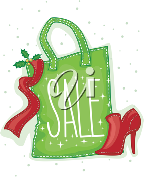 Illustration of a Paper Bag Marked with a Sale Tag