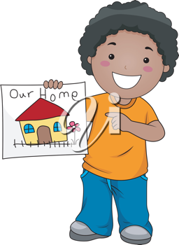 Illustration of a Kid Showing a Drawing of Their Home