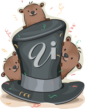 Illustration of Groundhogs Peeking From Behind a Hat