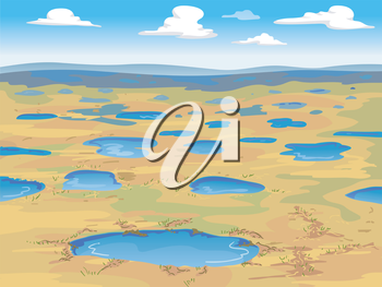 Illustration of a Wide Expanse of Tundra with Small Pools of Water