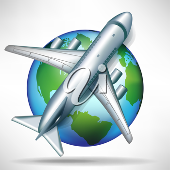 airplane on globe illustration; travelling concept