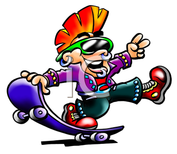 Royalty Free Clipart Image of a Street Punk on a Skateboard