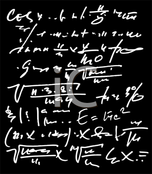 Royalty Free Clipart Image of Math on a Chalkboard